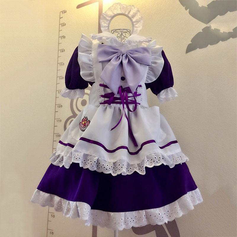 メイド服 紫色 荷葉フリル スカート コスプレ衣装 Lolita アリス?イン?ワンダーランド