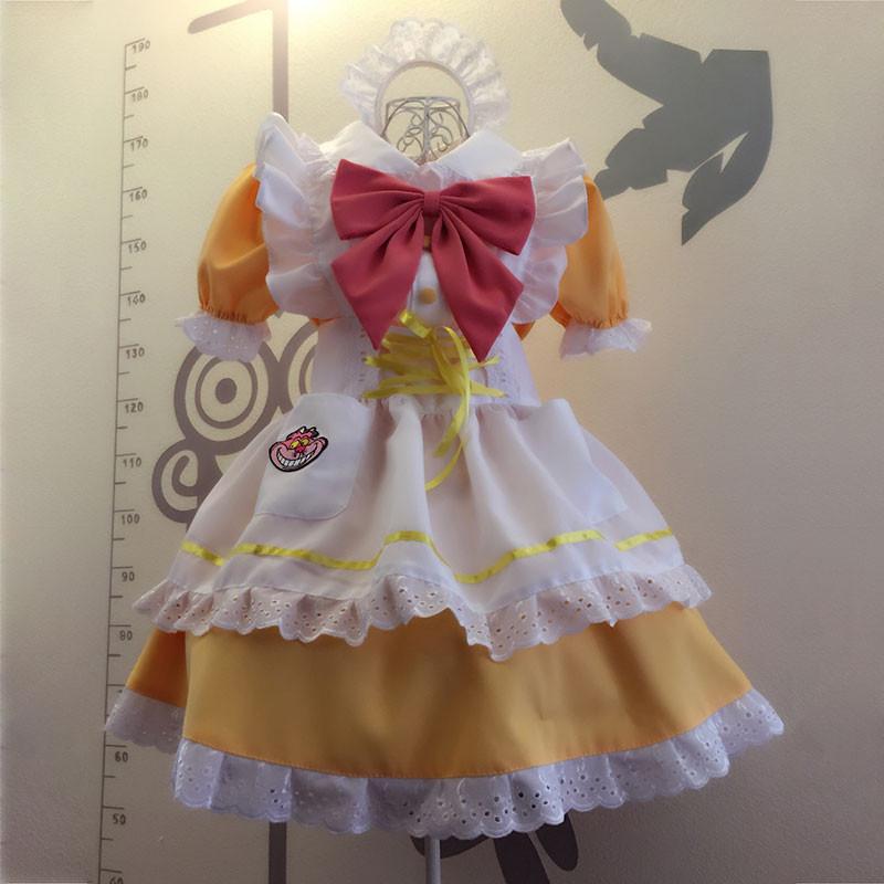 メイド服 黄色 荷葉フリル スカート コスプレ衣装 Lolita アリス?イン?ワンダーランド