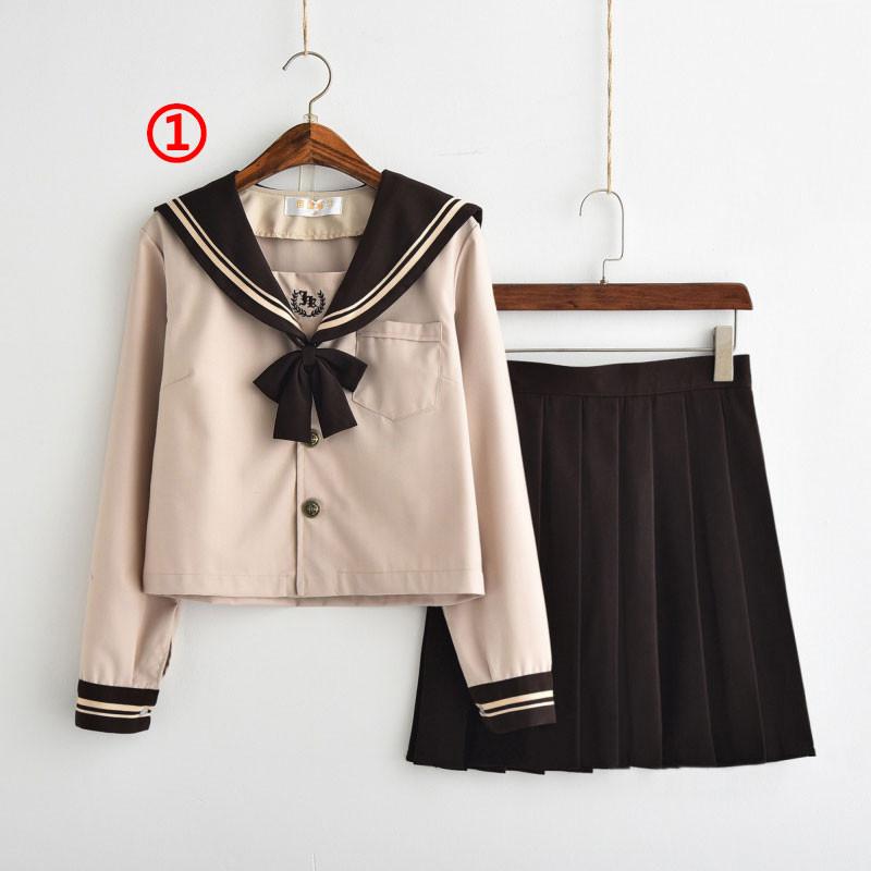 制服 セーラー服(コーヒー色) jk コスプレ衣装 日常風  高校生 学生 中学 女子校生 通学 学校 スクール 学生服