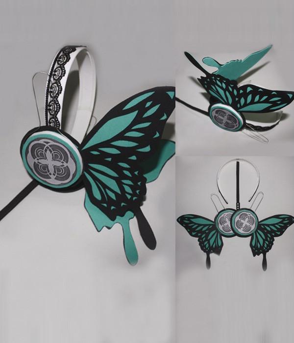 大人気販売!VOCALOID MAGNET 巡音ルカ 緑チョウのヘッドホン コスプレ道具