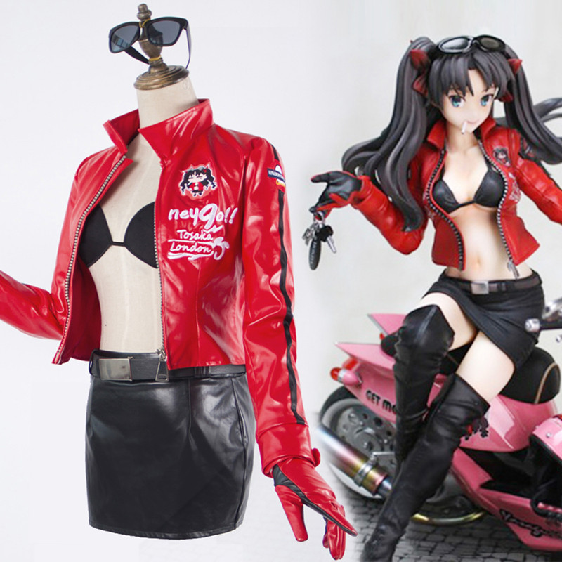 Fate/Zero フェイト/ステイナイト 遠坂凛 オートバイ服 赤+黒セット コスチューム