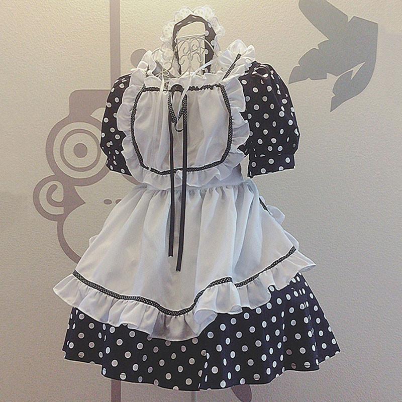 メイド服 セット 可愛い お姫様 ドットプリント 姫 青い