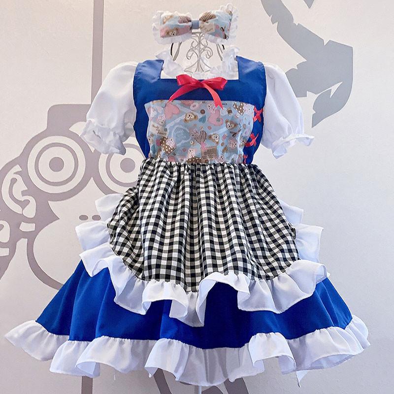 メイド服 お姫様 可愛い lolita セット 華麗 白+青