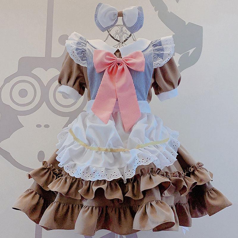 メイド服 可愛い 蝶結び 茶色 レース 喫茶店