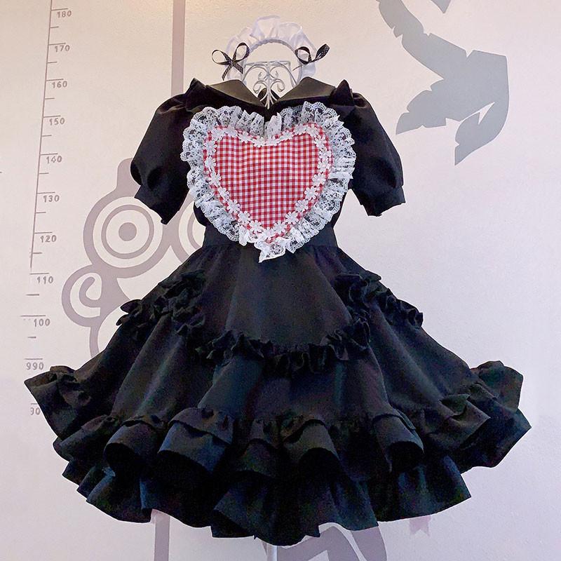 メイド服 可愛い レース セット 喫茶店 ブラック ハート飾り 荷葉裾