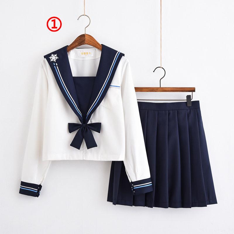 制服 jk コスプレ衣装 日常風 セーラー服 蝶ネクタイ 雪花 2本線の襟 ブラウス 半袖 長袖
