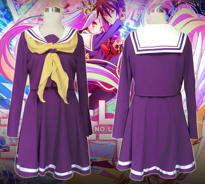 No Game No Life ノーゲーム ノーライフ 妹 しろ 白(しろ) コスプレ衣装 紫セーラー服 コスチューム 高品質