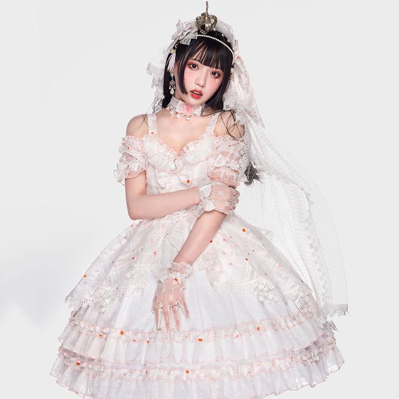 ワンピース ロリィタ風 白色 ドレス 日常用 コスチューム