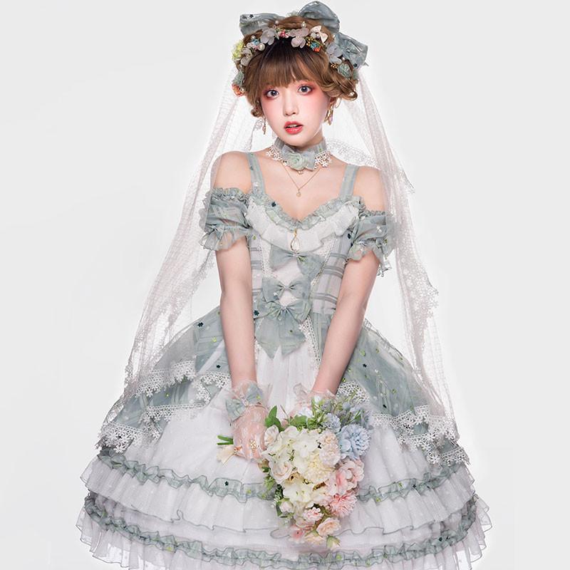 ワンピース ロリィタ風 緑色 ドレス 日常用 コスチューム
