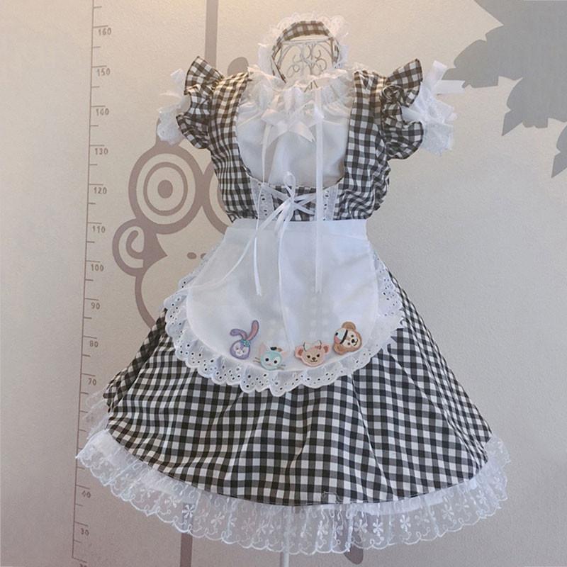 メイド服 黒白 チェック柄 荷葉フリル 6点セット スカート コスプレ衣装