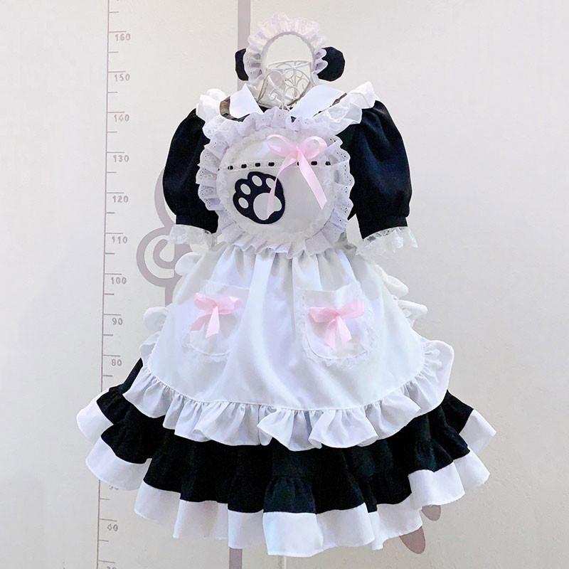 クラッシク 黒白メイド服 猫手柄 ハロウィン 喫茶店用 メイド服
