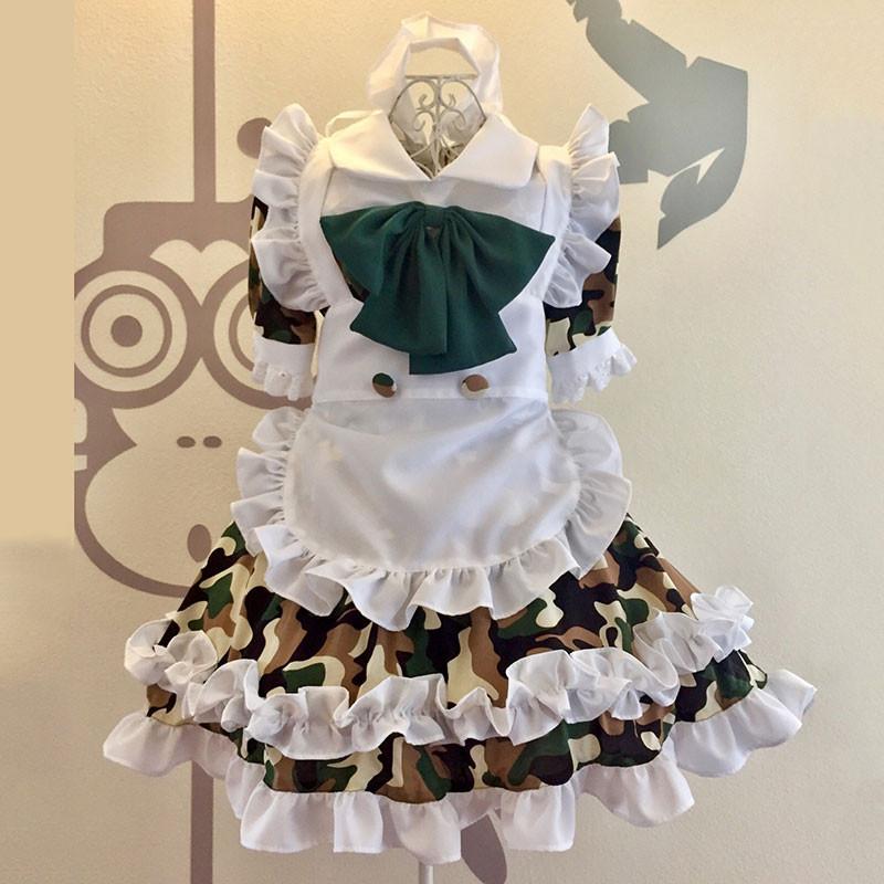 迷彩風 メイド服 白色エプロン+迷彩色ワンピース