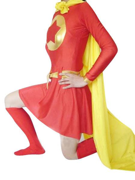 画像拡大に見るレッド スパンデックス スーパーマンコスチューム 全身タイツ 女性衣装