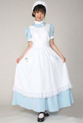 ナースさんスタイル ブルーメイド服 ロング コスプレ衣装