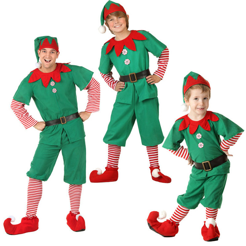 精霊親子服 カップル ハロウィン クリスマス 舞台服 グリーン コスチューム