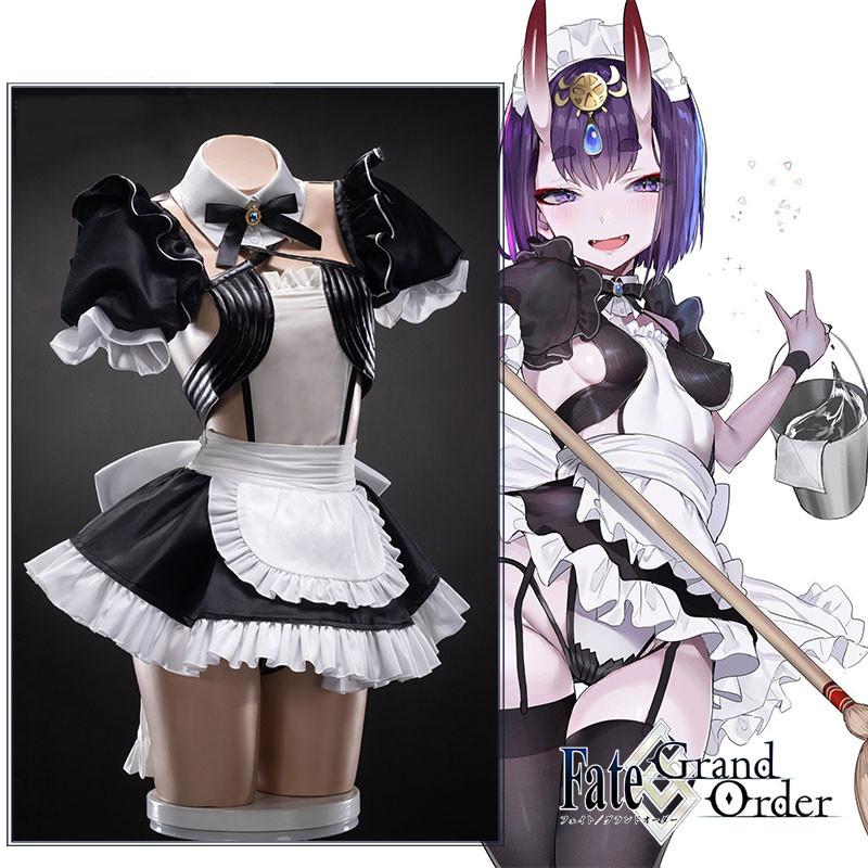 コスプレ衣装 Fate/Grand Order フェイトグランドオーダー FGO 酒呑童子  メイド服 コスプレ衣装 全セット 角 髪飾り ウィッグ