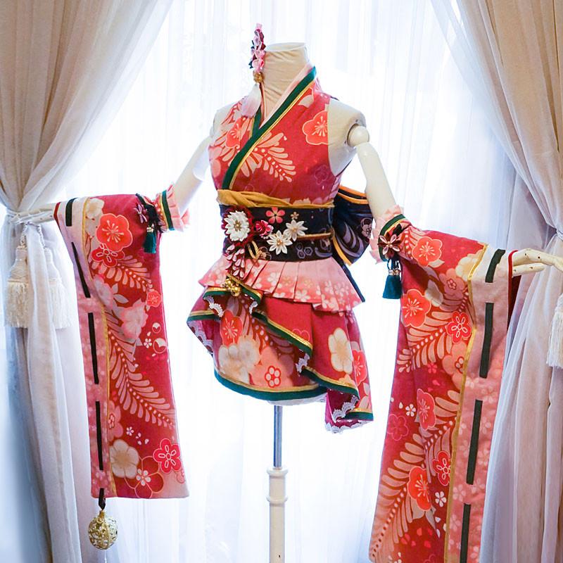 デレステ SSR 小早川紗枝 こばやかわさえ 着物 振袖 赤 着物風 コスプレ衣装