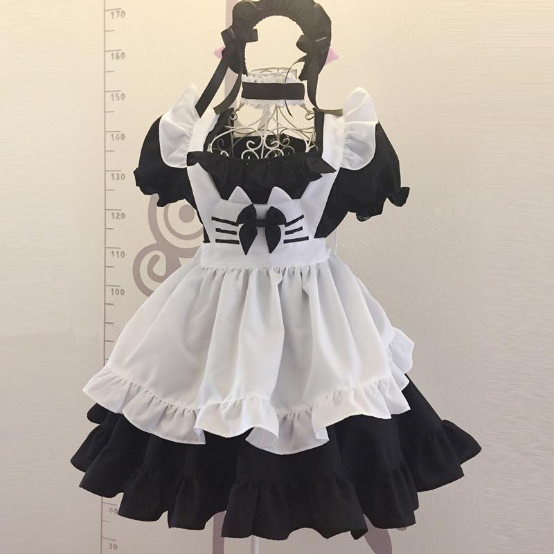 2017新品 猫耳 メイド服 黒白 クラッシク風メイド服