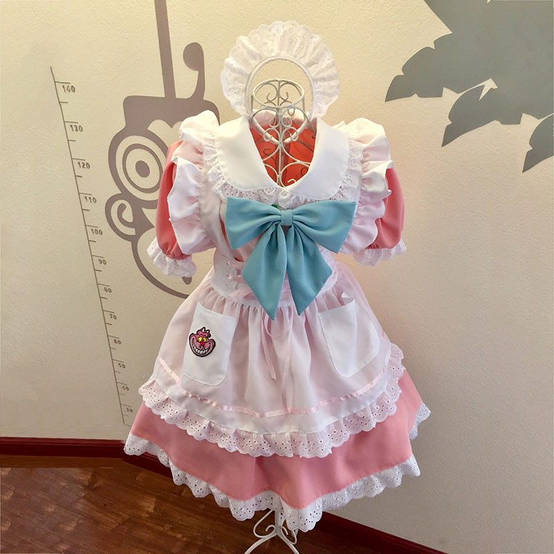 メイド服 薄いピンク 荷葉フリル スカート コスプレ衣装 Lolita アリス?イン?ワンダーランド