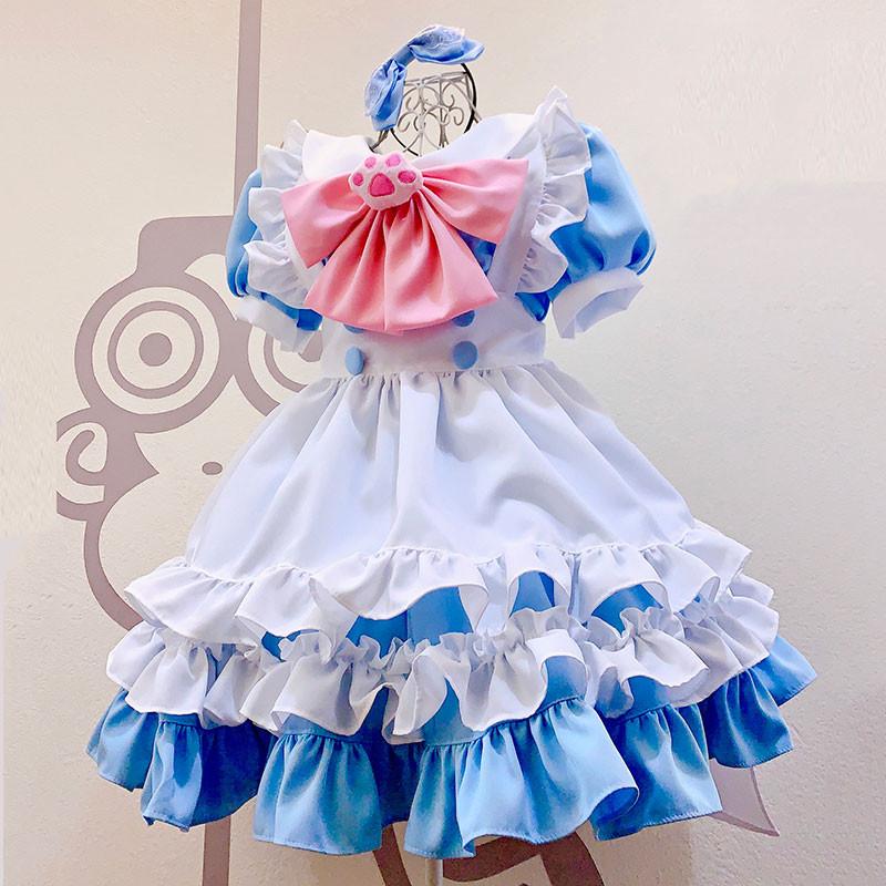萌え萌え メイド服 猫柄飾り 水色ワンピース