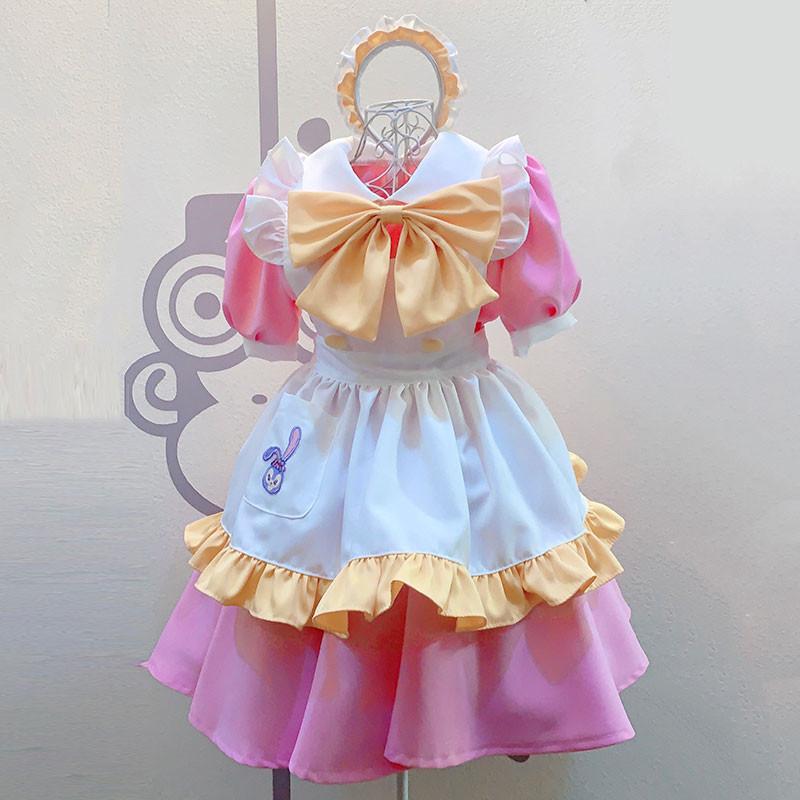 クリスマス.ハロウィン メイド服 ピンク+薄い黄色 キュート柄 エプロン