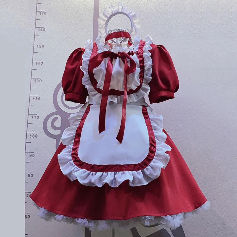 クリスマス.ハロウィン メイド服 赤色ワンピース 白+赤エプロン
