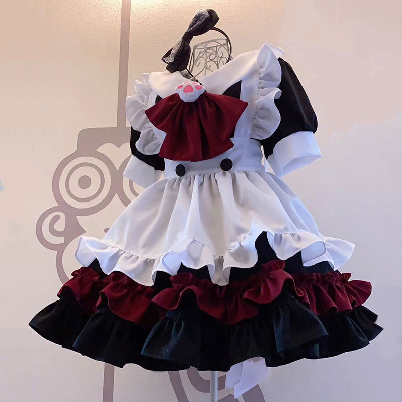 クリスマス.ハロウィン 黒色メイド服 赤色 猫手の胸元飾り