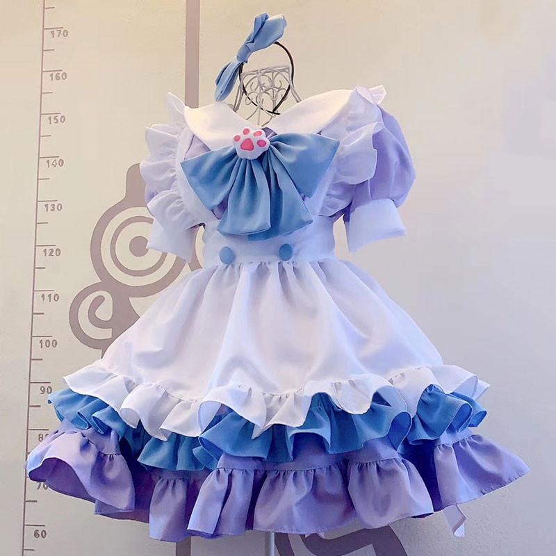 クリスマス.ハロウィン 紫色メイド服 青色 猫手の胸元飾り