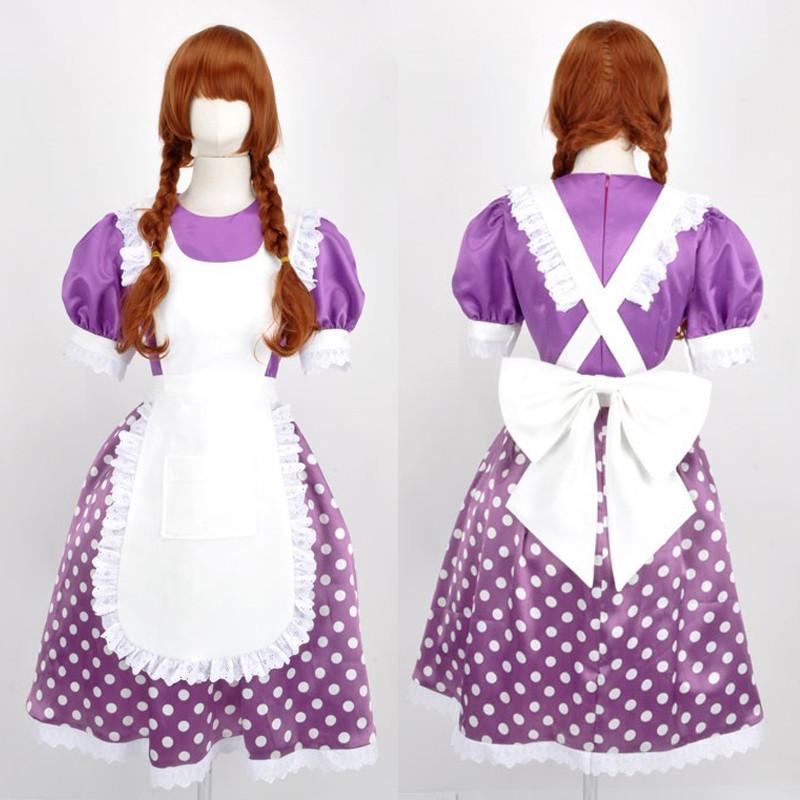 東京ディズニー ウォルト?ディズニー☆マイフレンドダッフィー ミニーマウス(紫水玉)ミニーちゃん コスプレ衣装