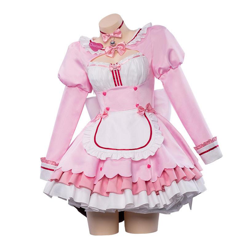 ネコぱら チョコレート 香子蘭 ピンク メード服 コスプレ衣装 可愛