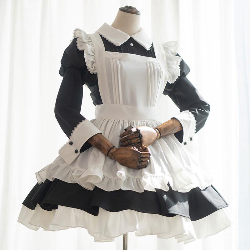 黒白クラシック色 メイド服 オーダーサイズ可 喫茶店服