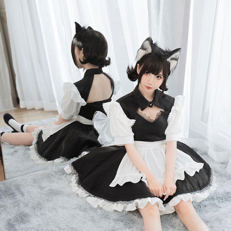 メイドコスプレ 黒白 胸元開いた セクシー ミニ丈 メイド服