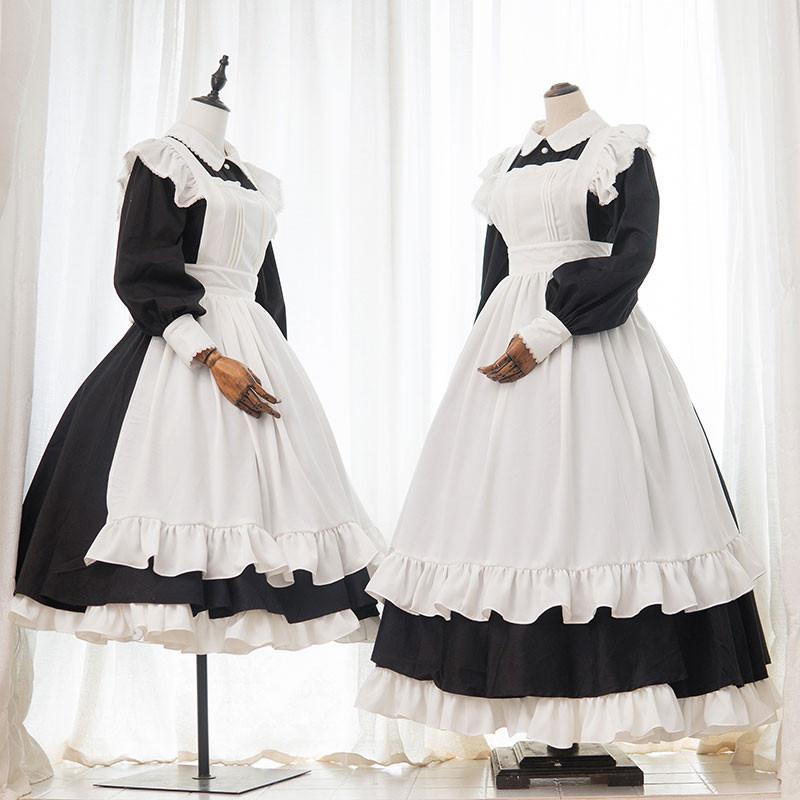 英国風メイド服 ロング ワンピース 黒白 クラシックスタイル 喫茶店服