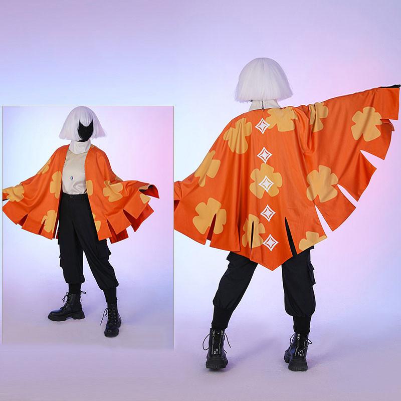 Sky 星を紡ぐ子どもたち 楽園の季節 2週類ケープ 蝶々の羽 オレンジ色の柄 ケープ