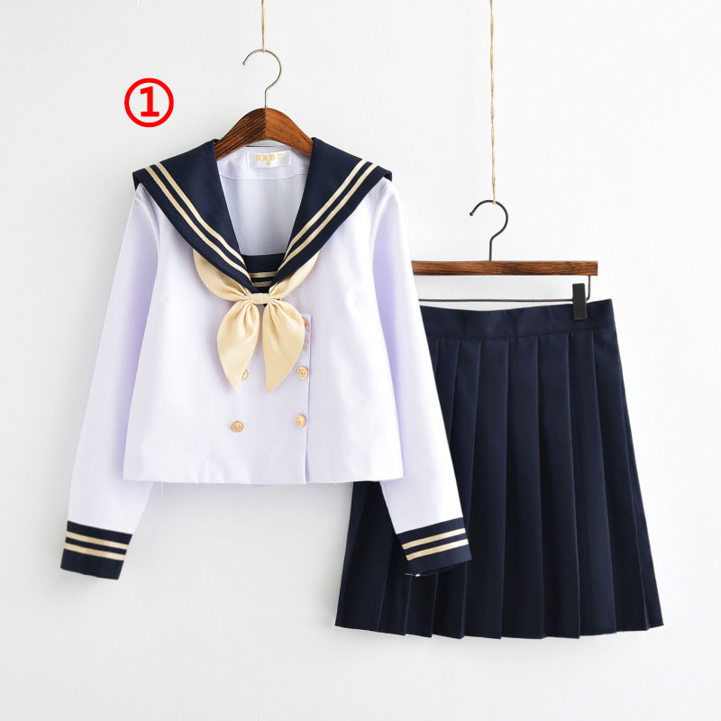 制服 セーラー服(2本線の襟 ネイビー) jk コスプレ衣装 日常風  高校生 学生 中学 女子校生 通学 学校 スクール 学生服