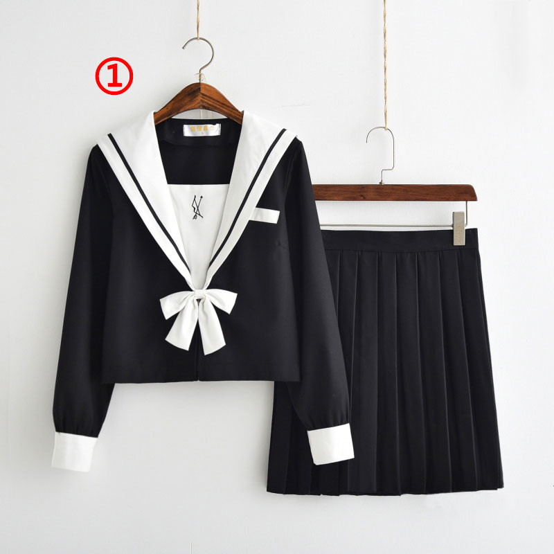 制服 セーラー服(白襟 ネイビー) jk コスプレ衣装 日常風  高校生 学生 中学 女子校生 通学 学校 スクール 学生服