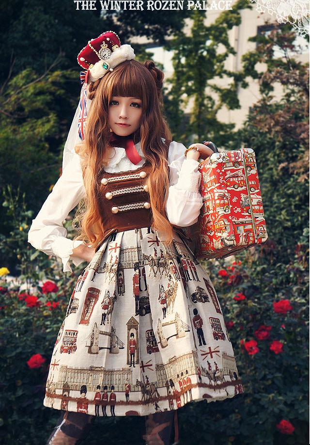 フェナン ローズプリントジャンパースカート  ゴスロリ ロリータ パンク コスプレ コスチューム メイド衣装