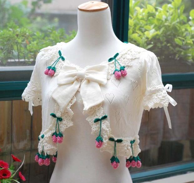 可愛い いちご短袖 カーディガンニット ロリータ  洋装